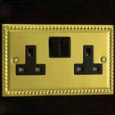 Varilight 2 Gang 13 Amp Switched Electrical Plug Socket Georgian Brass Black Insert XG5B